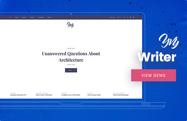 Yvy - Writer Blog/Magazine WordPress Theme