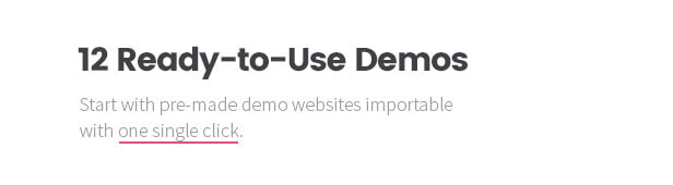 11+ Ready-to-Use Demos: Start with pre-made demo websites importable with one single click.