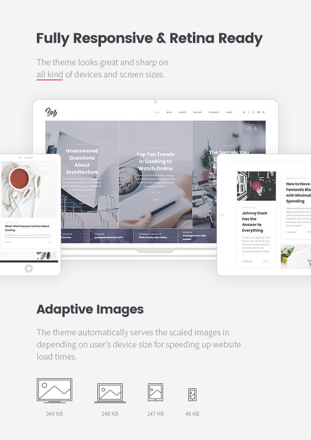 Fully Responsive & Retina Ready: The theme looks great and sharp on all kind of devices and screen sizes. yvy: blog/magazine & shop wordpress theme (personal) Yvy: Blog/Magazine & Shop WordPress Theme (Personal) 03 yvy responsive